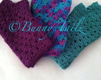 Fingerless Gloves Handmade Crochet Gloves Half Finger Gloves Arm Warmers Teal Purple Blue