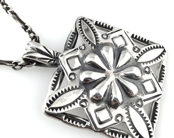 Silver Necklace, chasing and repousse mandala design.