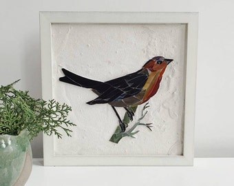 Modern rustic farmhouse decor Stained glass mosaic wall art Rustic wood decor Unique modern wall decor Wabi sabi decor Bird stained glass