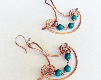 Turquoise Earrings, Hand formed copper wire jewelry, blue earrings, beaded dangles, December birthstone