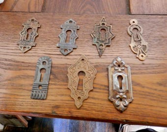 Choice one (1) antique architectural key hole escutcheon cover