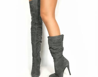 Edza Paris Gray Suede Leather High Heel over the knee boots, thigh high boots, 39 40 41 42 8 9 10 11