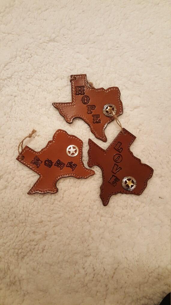 ON SALE Handmade Leather Texas Christmas Tree Ornaments w/