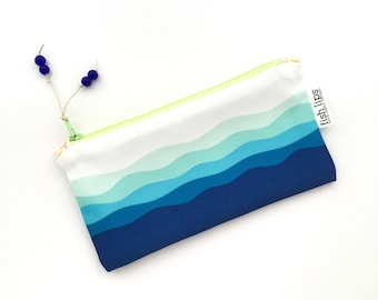 Waves Recycled Canvas Zipper Pouch, Designer Storage Bag + Glass Bead Tassel, Handmade Ocean Gift, Beach Life, Blue, Navy, Turquoise