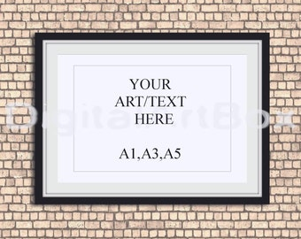 A3 Horizontal Black Frame Mockup Red Brick Wallpaper Background,Framed Art,Poster Mockup, Framed Art Mockup,INSTANT DOWNLOAD