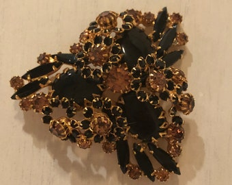 Vintage, Sparkly Black and Amber Brooch
