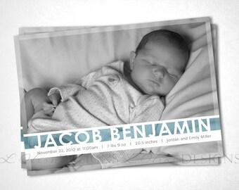 Jewel Stripe Birth Announcement - Teal - DIY Printable