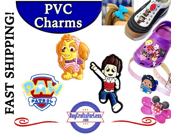 PVC Charms, Paw Patrol * 20% OFF 4 * 99cent Shipping * For Shoes, Hair, Pins-Choose back-Button, Pin, Slider, Hair Clip, Velcro