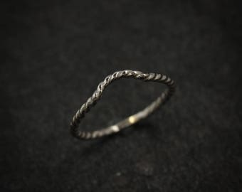 14k Palladium White Gold Wrap Band Ring, Nautical Rope Wrap Style Wedding Band, Chevron Band, Eco Palladium Gold Gaurd Rings