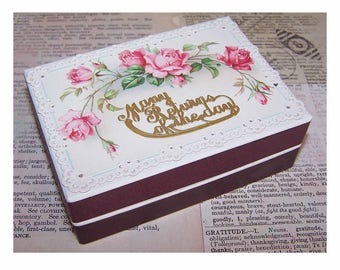 Antique Edwardian, French. Pharmacy, Gift, Pill, Trinket, Box, Repurposed, Victorian, Die Cut, Card, Pink, Roses, Many Happy Returns