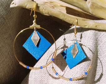Bo Creole blue leather and glass beads