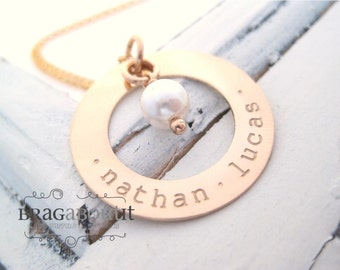 Personalized  Hand Stamped Jewelry - Personalized Necklace - Brag About It - 14K Gold Filled Personalized Jewelry - Pearl Elegance