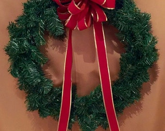 VELVET BOW RED Extra Large Gold Edged Accents For Outdoor Or Indoor Use
