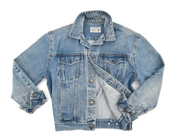Distressed Denim Jacket Oversized Denim Jacket Vintage Jean Jacket Mens Britches Denim Jacket 70s Faded Denim Jacket Mens S / M Womens XL
