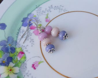 PASTEL LAMPWORK EARRINGS - artisan made lampwork art glass in pink, lilac & cream. Valentine gift.