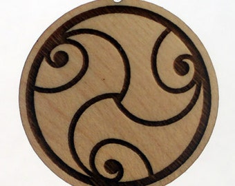Abundance Lasered Crop Circle Maple Wood Pendant
