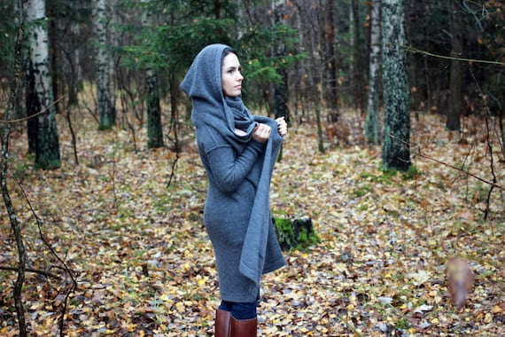 white long with with Alpaca sweater her belt wool gift and cardigan hood for hooded gray pockets coat woman navy beige knit wrap rqEg8EUYw
