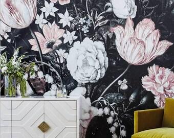 Blossoms Mural - Large Wall Mural, Large Flowers Mural, Dark Floral