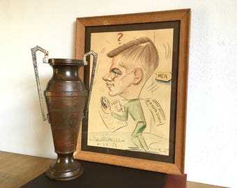 1959 Kappa Sigma Fraternity Pledge Oil Pastel Caricature Painting