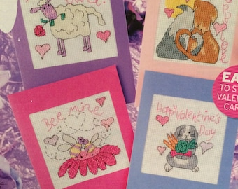 4 x Valentines Day Cards Cross Stitch