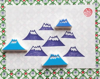 winter mountain rubber stamp set | woodland birthday christmas gift wrapping | diy art journal | hand carved by talktothesun | set of 3