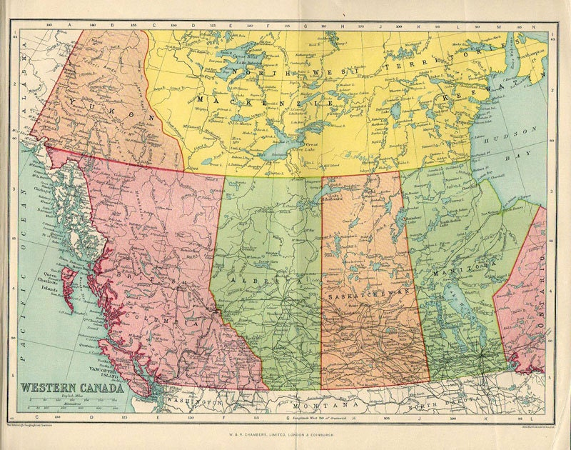 Large Map of CANADA 1922 atlas antique map Canadian Map Map