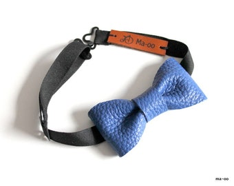 Leather bow tie - Blue