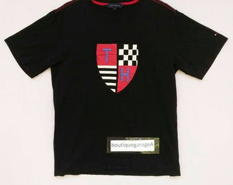 Rare!! TOMMY HILFIGER designer spellout crew neck pull over large size