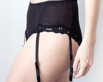 Orion High Waist Garter Short / Black Boyshort, Highwaisted Panties, Highwaisted Underwear, Black, Bamboo Jersey Panties, Seamless Panties