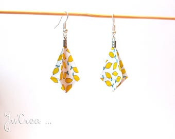 Geometric Origami earrings lemon diamond