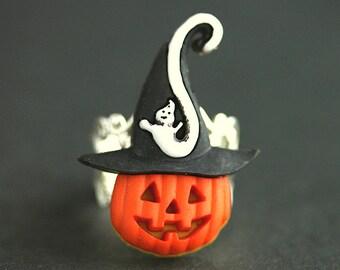 Hexe Hut Kürbis Ring. Halloween-Ring. Jack weißen Ring. Orange Halloween Schmuck. Verstellbarer Ring. Bronze-Ring. Handgemachten Schmuck.