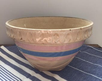 Pink and White Yellow Ware Bowl - 8""