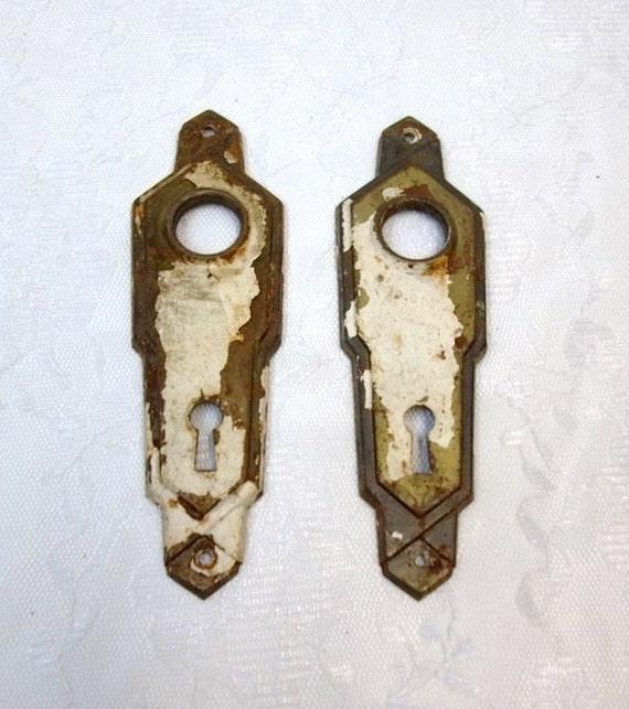 Art Deco Door Plate Pair Home Restoration Hardware Door Knob Plates Salvage Door Hardware Rusty Chippy Old Door Hardware Crafts DD 1385 from donDiLights on ... & Art Deco Door Plate Pair Home Restoration Hardware Door Knob Plates ...