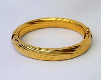Stunning Elegant HSN VERONESE 18k Gold Bonded Sterling Silver Cable Bangle Bracelet 23 Grams