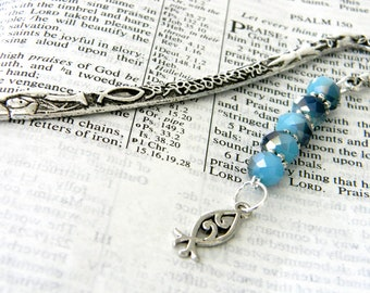 Jesus Fish Bookmark with Two Tone Blue Glass Beads Silver Color Shepherd Hook Christian Bookmark
