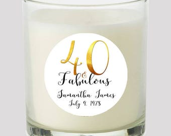 """40 and Fabulous 2"""" Favor labels Great for personalizing your events Candles, cupcake toppers Mason Jar decals, Stickers"""