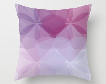Mid Century Geometric Flower Pillow Cover - Decorative Pillow -  Abstract Flower Throw Pillow - Accent Pillow - Purple Home Decor