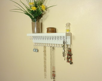 Jewelry Organizer - Necklace Holder- Jewelry Storage - 31 Jewelry Hooks - A Top Shelf - 30 Different Color Choices - Ready To Hang