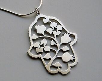 Pomegranate Hamsa Pendant, silver