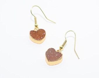 Sparkly Earrings, Druzy Heart Earrings, Druzy Jewellery, Christmas Gift, Orange Druzy Earrings, Sister Gift, Mother of the Bride Gift