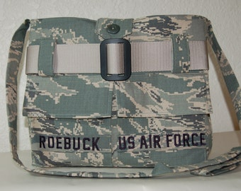 Air Force Camo Purse with Over-the-Shoulder Strap and Button closure