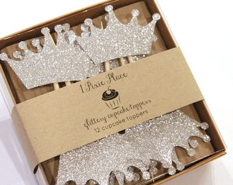 Princess Crown Glittery Cupcake Toppers - Set of 12
