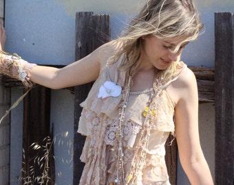 Gypsy dress, Beach wedding dress, Layered dress, Strappy dress Ruffle dress Alternative dress, 2nd wedding dress, Simple wedding dress Boho