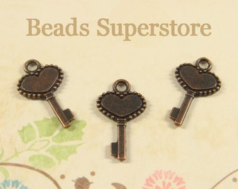 17 mm x 10 mm Antique Copper Two Sided Key Charm / Pendant - Nickel Free, Lead Free and Cadmium Free - 12 pcs (CH116)
