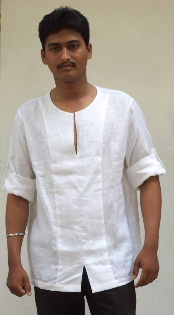 Mens Boho Beach Wedding Short Shirt kurta in natural linen, Plus size and Tall and Big.