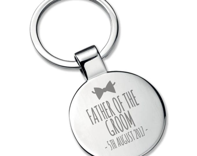 Engraved FATHER of the GROOM KEYRING wedding thank you gift, chromed round metal keyring bow tie - 5565RBW2