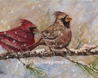Bird art, Backyard Buddies, limited edition print of cardinals on branch in the wintertime. Red birds, bird artwork, midwestern  scene