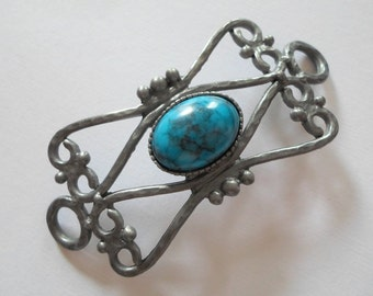 Vintage Oxidized Silver And Turquoise Bracelet Centerpiece - Art Deco Beautiful And Unusual