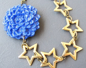 Star Jewelry Statement Necklace Star Necklace Flower Necklace Bib Necklace Navy Blue Jewelry