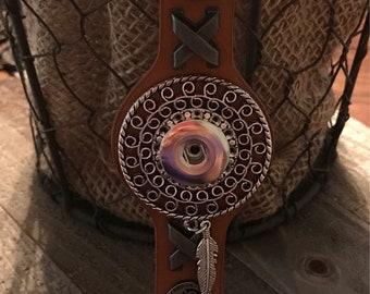 Faux Leather snap button bracelet